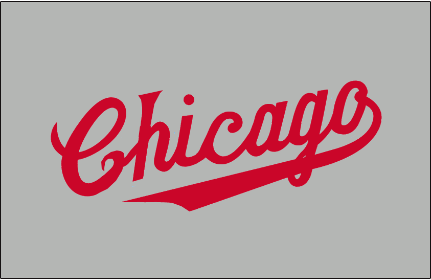 Chicago Cubs Logo Jersey Logo (1931-1932) - Chicago scripted in red on grey, worn on Chicago Cubs road alternate jersey from 1931 to 1932 SportsLogos.Net