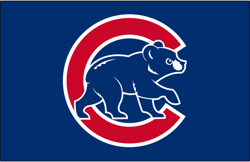Chicago Cubs Logo Batting Practice Logo (1999-2002) - (BP) Angry blue cub walking in front of red C with white outlines on blue SportsLogos.Net