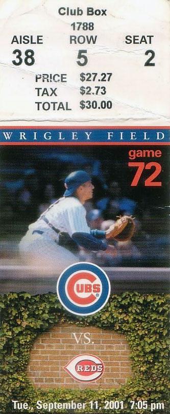 Chicago Cubs Ticket Stub Ticket Stub (2001) -  SportsLogos.Net