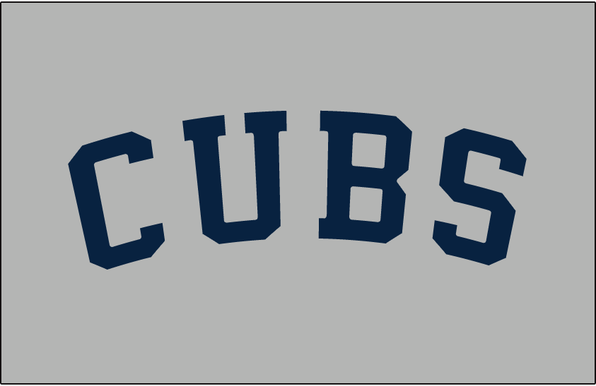 Chicago Cubs Logo Jersey Logo (1920) - CUBS in block navy blue letters arched on grey. Worn on Chicago Cubs road jersey in 1920 SportsLogos.Net