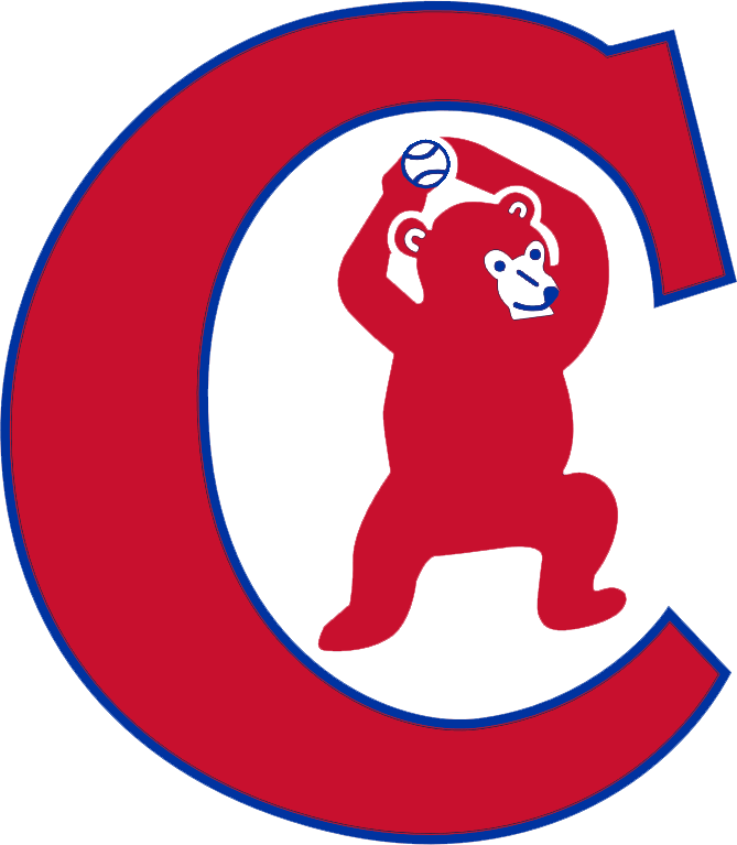 Chicago Cubs Logo Alternate Logo (1934-1937) - A red bear cub standing and holding a blue baseball above its head inside of a red and blue C. Worn on Chicago Cubs alternate home jerseys from 1934-37 SportsLogos.Net