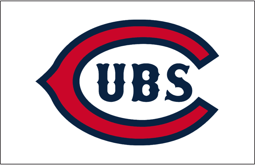 Chicago Cubs Logo Jersey Logo (1925-1926) - Red wishbone C with UBS in blue on white, worn on Chicago Cubs home jersey during the 1925 and 1926 seasons SportsLogos.Net