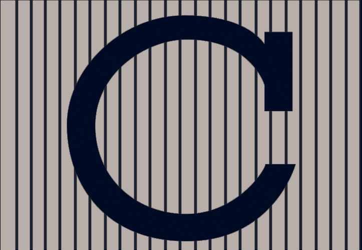 Chicago Cubs Logo Wordmark Logo (1907) - A black C on grey with black pinstripes, worn on the Chicago Cubs road jersey during the 1907 World Series SportsLogos.Net