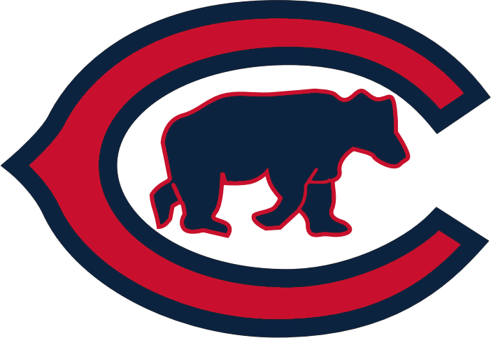 Chicago Cubs Logo Primary Logo (1916) - A red 'C' with blue trim and a blue bear cub walking inside SportsLogos.Net