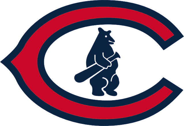 Chicago Cubs Logo Primary Logo (1927-1936) - A red wishbone 'C' with blue trim with a blue cub inside it SportsLogos.Net
