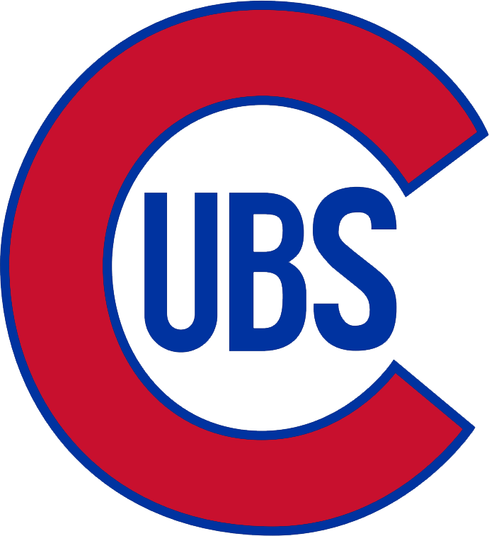 Chicago Cubs Logo Primary Logo (1937-1940) - A red 'C' with blue trim, 'UBS' written inside in blue SportsLogos.Net