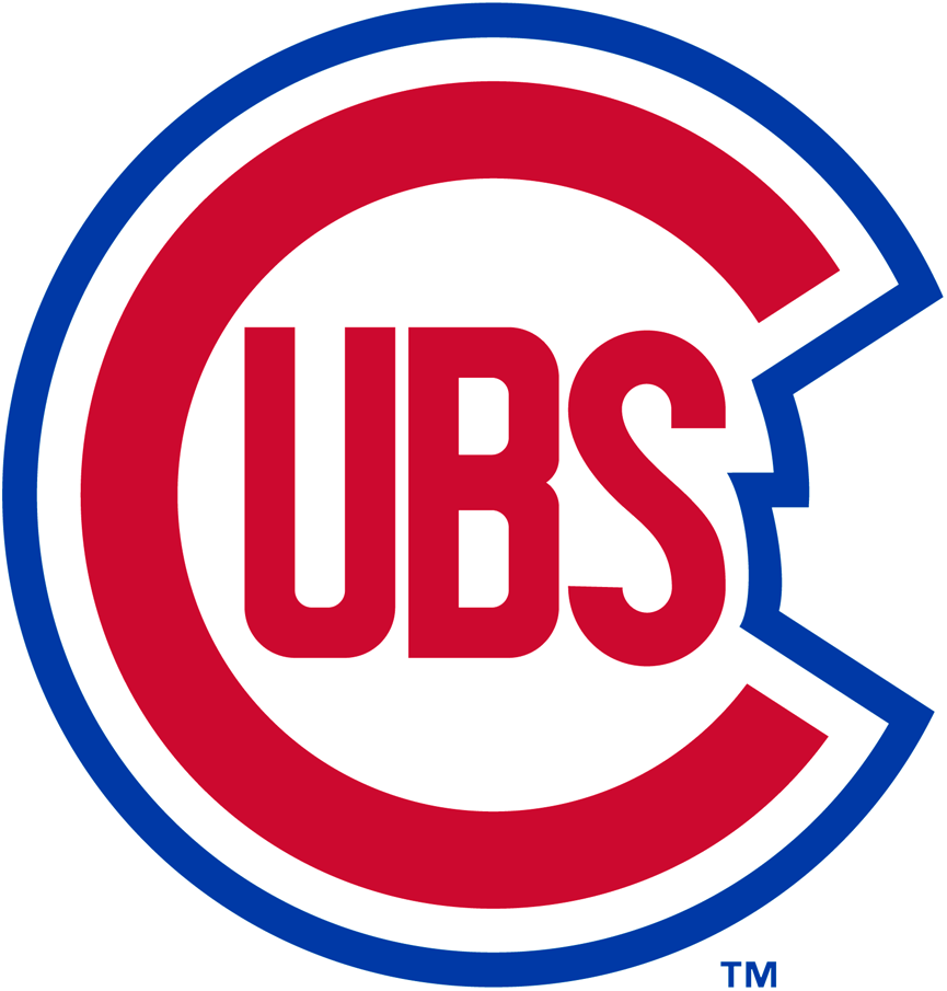 Chicago Cubs Logo Primary Logo (1948-1956) - A red 'C' with 'ubs' inside it in red, blue and white trim surrounding it SportsLogos.Net