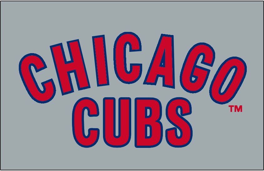 Chicago Cubs Logo Jersey Logo (1957) - Chicago arched above Cubs in red trimmed in blue on grey. Worn on Chicago Cubs road jersey for the 1957 season only SportsLogos.Net