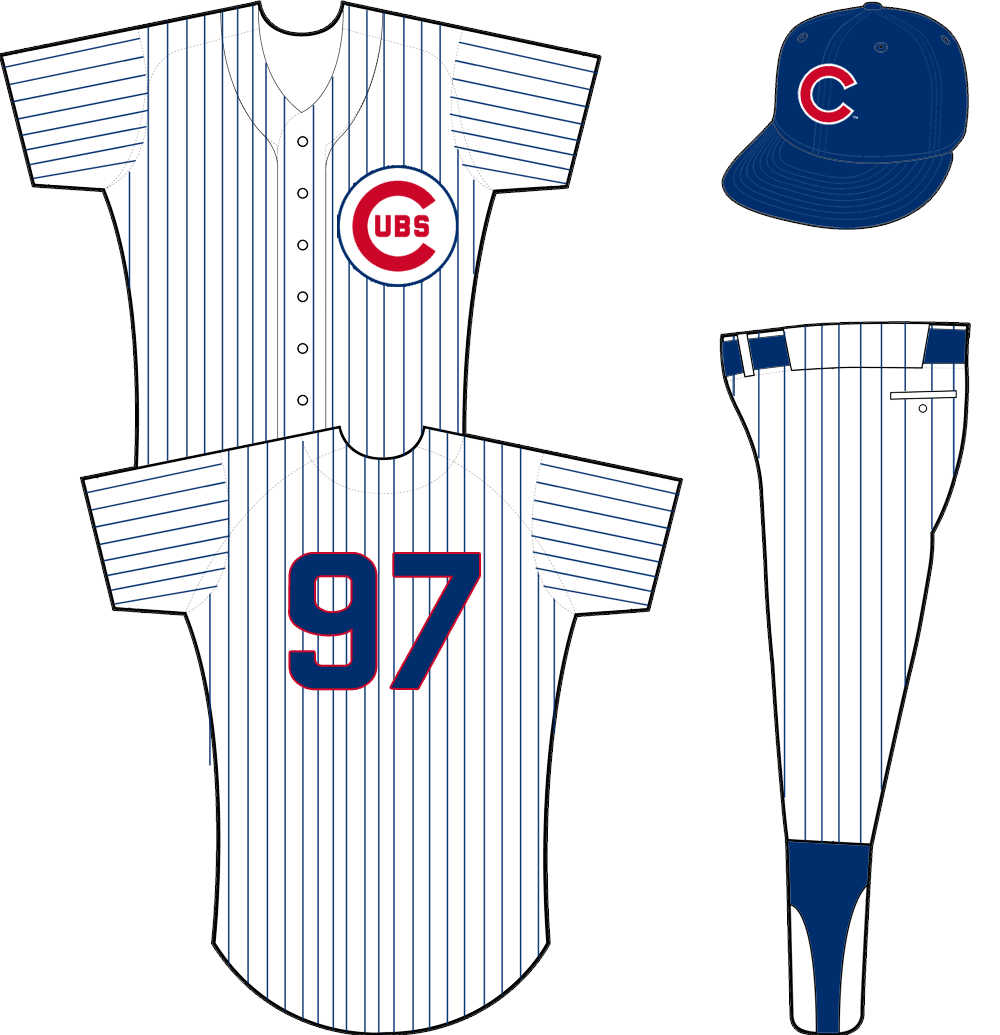 Chicago Cubs Uniform Home Uniform (1958-1961) - Cubs logo on left chest with blue pinstripes on white jersey SportsLogos.Net