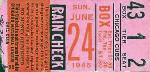 Chicago Cubs Ticket Stub Ticket Stub (1945) -  SportsLogos.Net