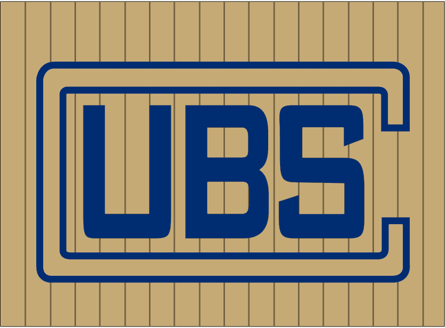 Chicago Cubs Logo Wordmark Logo (1918) - A rectangular C in tan and blue with UBS inside in blue on a tan base with pinstripes. Worn on the upper left chest of the Chicago Cubs road uniforms during the 1918 season SportsLogos.Net