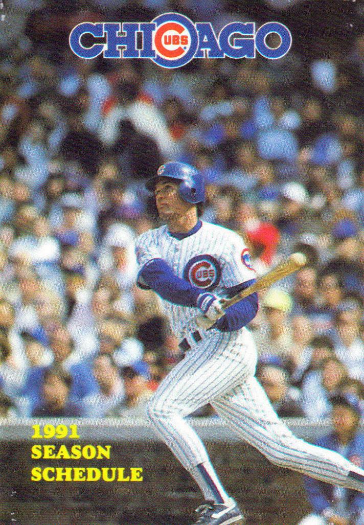 Chicago Cubs Pocket Schedule Pocket Schedule (1991) -  SportsLogos.Net