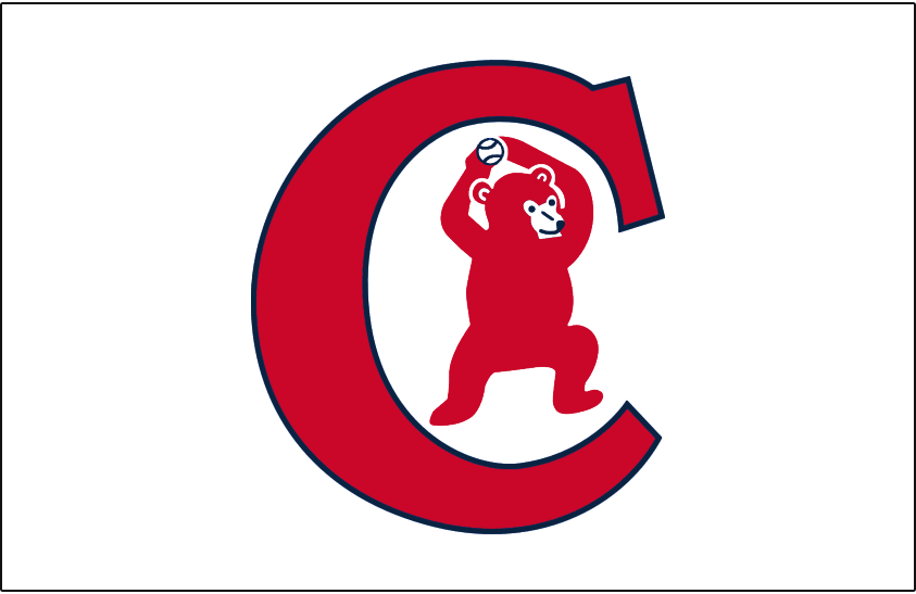 Chicago Cubs Logo Jersey Logo (1934) - A bear cub throwing a baseball inside a C, worn on front of Chicago Cubs home alternate jersey during the 1934 season SportsLogos.Net