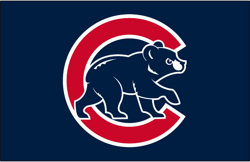 Chicago Cubs Logo Batting Practice Logo (2003-2006) - (BP) Angry blue cub walking in front of red C with white outlines on dark blue SportsLogos.Net