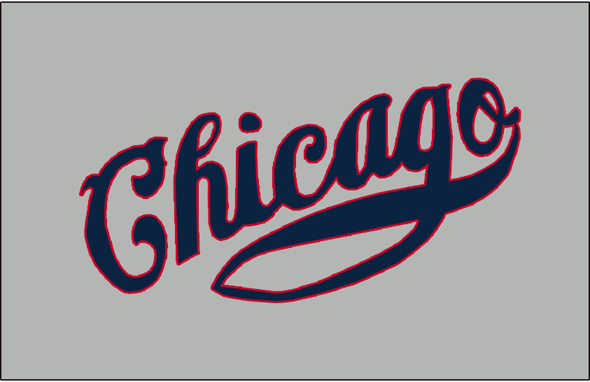 Chicago Cubs Logo Jersey Logo (1933-1934) - Chicago scripted in blue with red trim on grey, worn on Chicago Cubs road alternate jersey from 1933 to 1934 SportsLogos.Net