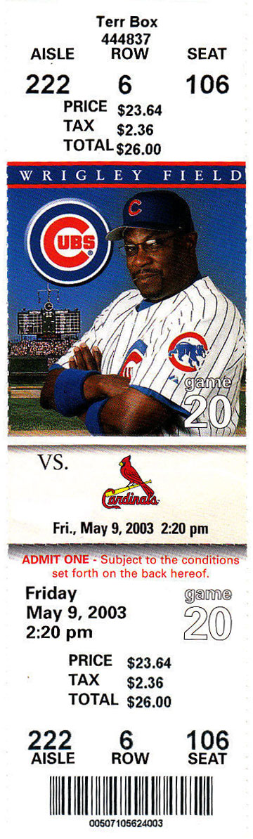 Chicago Cubs Ticket Stub Ticket Stub (2003) -  SportsLogos.Net