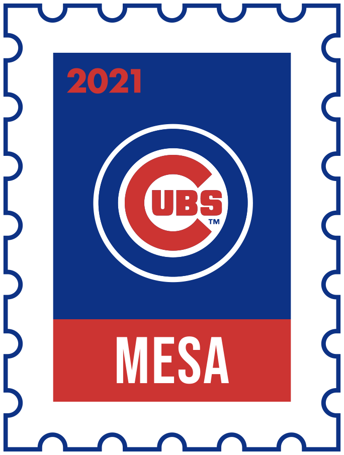 Chicago Cubs Logo Event Logo (2021) - The Chicago Cubs 2021 Spring Training logo, the design follows a league-wide style using a postage stamp in team colours with the team logo in the middle. SportsLogos.Net