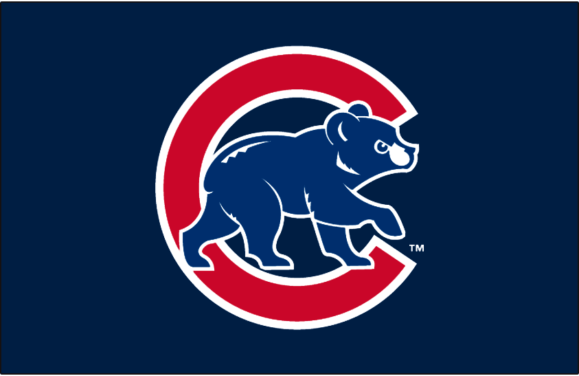 Chicago Cubs Logo Batting Practice Logo (2003-2006) - Angry blue cub walking in front of red C with white outlines on dark navy blue. Worn on the front of the Chicago Cubs dark navy blue batting practice jerseys from 2003 to 2006. SportsLogos.Net