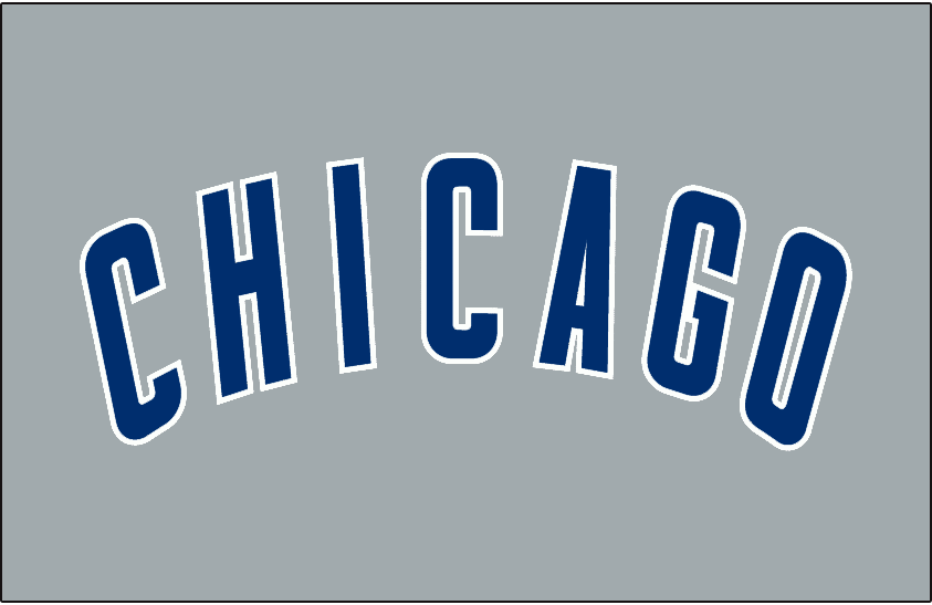 Chicago Cubs Logo Jersey Logo (1997-Pres) - Chicago in blue arched with white outline on grey, worn on the front of the Chicago Cubs road jerseys since 1997 SportsLogos.Net