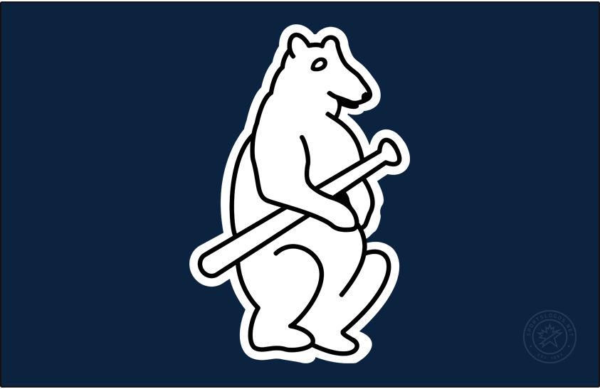Chicago Cubs Logo Cap Logo (1914) - A white bear cub holding a baseball bat on navy blue. Worn on Chicago Cubs home and road caps during the 1914 season SportsLogos.Net