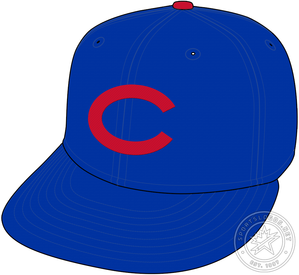 Chicago Cubs Cap Cap (1937-1939) - Beginning in 1937 and continuing though to 1939, the Chicago Cubs wore a light royal blue cap with a red C on the front SportsLogos.Net