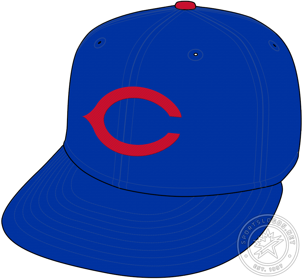 Chicago Cubs Cap Cap (1940-1956) - Beginning in 1940 and continuing though to 1956, the Chicago Cubs wore a light royal blue cap with a red wishbone C on the front SportsLogos.Net