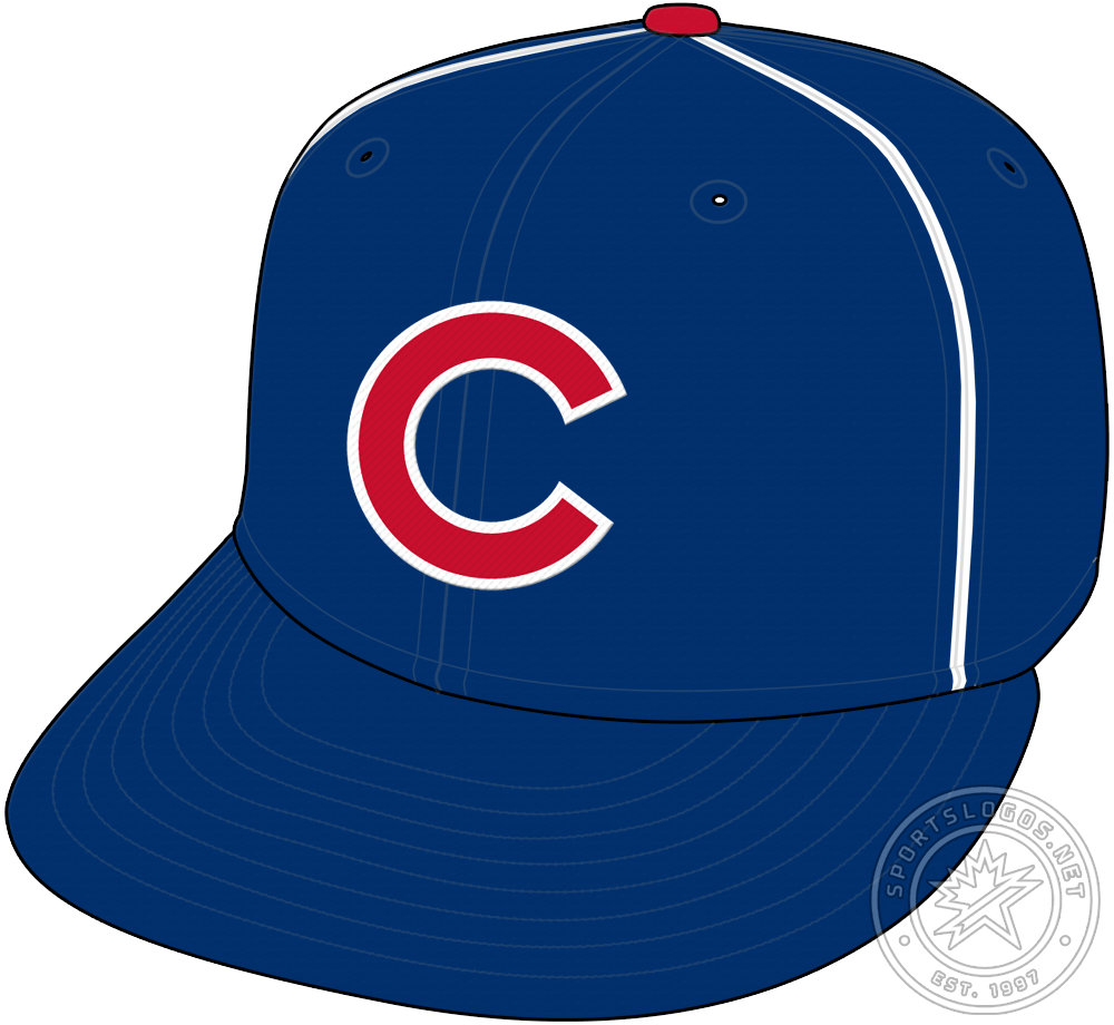 Chicago Cubs Cap Cap (1957) - For the 1957 season only, the Chicago Cubs wore this royal blue cap with two thin white vertical stripes on either side of the front panel, the red C with white trim on the front a preview of the cap the club would wear for the next 70+ seasons. SportsLogos.Net