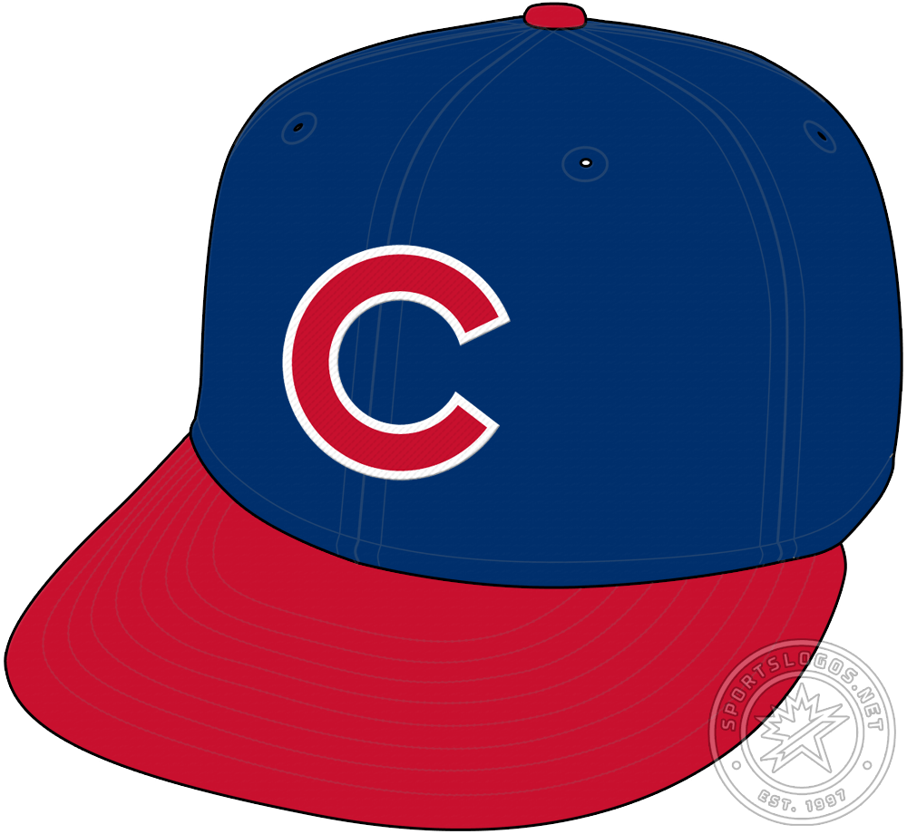 Chicago Cubs Cap Cap (1994-2008) - With the introduction of their new road uniform in 1994, the Cubs introduced a new road cap featuring their familar blue crown with red C logo but now with a red visor. The Cubs also wore this logo with their alternate blue jerseys during this period. SportsLogos.Net
