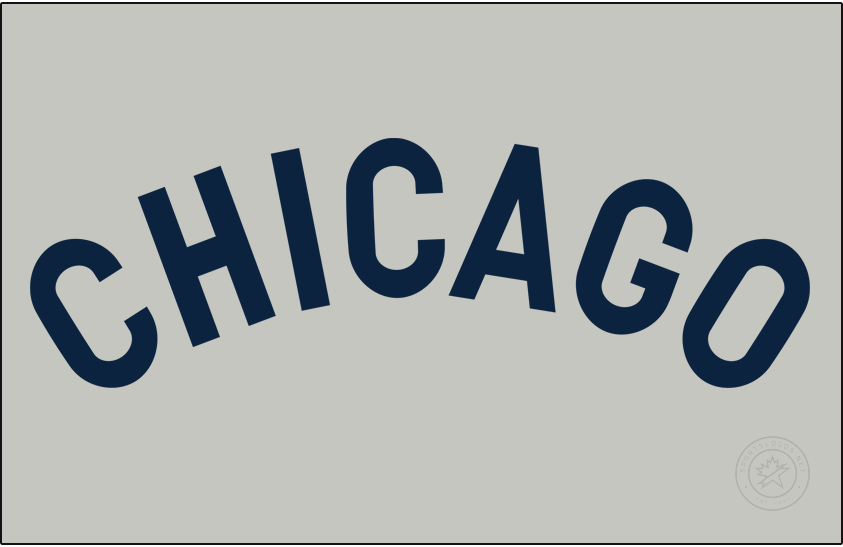 Chicago Cubs Logo Jersey Logo (1905) - For road games in 1905 the Chicago Cubs wore a simple navy blue CHICAGO wordmark across their chest on a grey jersey. SportsLogos.Net