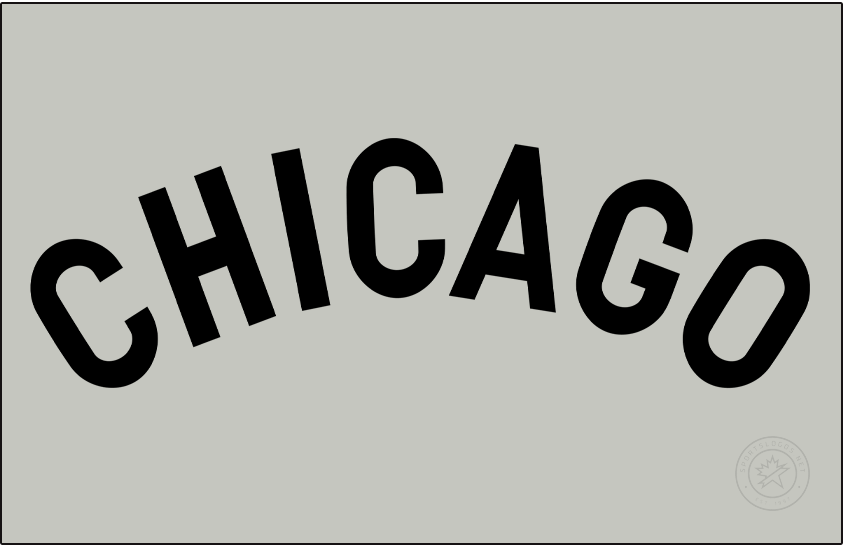 Chicago Cubs Logo Jersey Logo (1906) - For road games in 1906 the Chicago Cubs wore a simple black CHICAGO wordmark across their chest on a grey jersey. SportsLogos.Net