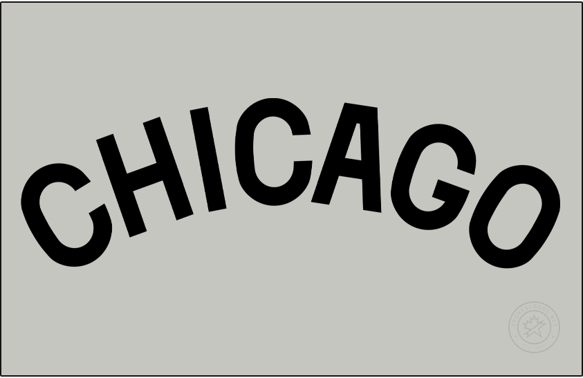 Chicago Cubs Logo Jersey Logo (1907) - For road games in 1907 the Chicago Cubs wore a simple black CHICAGO wordmark across their chest on a grey jersey. The style of typeface was slightly updated versus what they wore the year prior. SportsLogos.Net