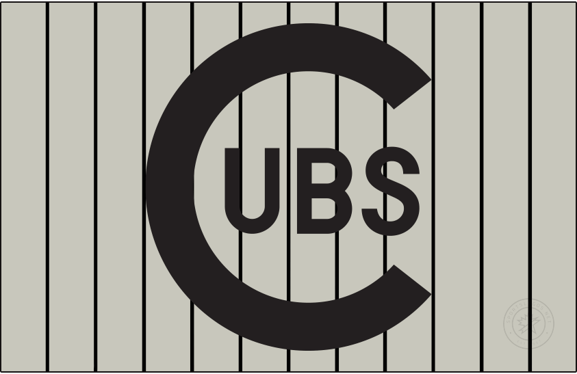 Chicago Cubs Logo Jersey Logo (1909-1910) - For road games in the 1909 and 1910 seasons, the Chicago Cubs wore this logo featuring a black C with UBS within it, worn on a grey jersey with black pinstripes. SportsLogos.Net