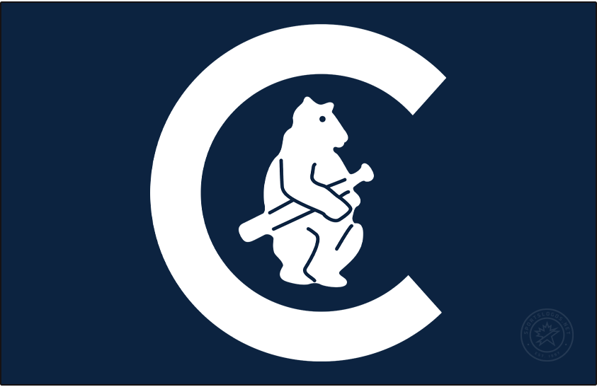 Chicago Cubs Logo Jersey Logo (1911-1912) - In 1911 the Chicago Cubs kept the bear within a C logo on their jerseys but updated the colours from brown and red to navy blue and white, the road jersey during this period was navy blue and the logo appeared almost entirely in white SportsLogos.Net