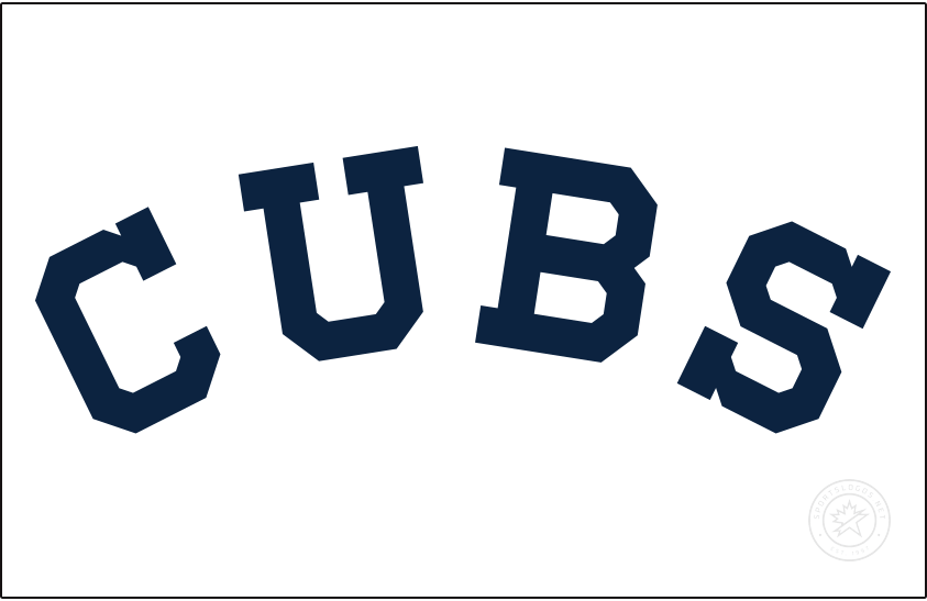 Chicago Cubs Logo Jersey Logo (1913) - Following five seasons of using a bear logo on their uniform, the Cubs switched back to traditional lettering on their jersey, now reading the team nickname of CUBS in navy blue on a plain white jersey this style lasted only for the 1913 season before returning in 1918 with different colours. SportsLogos.Net