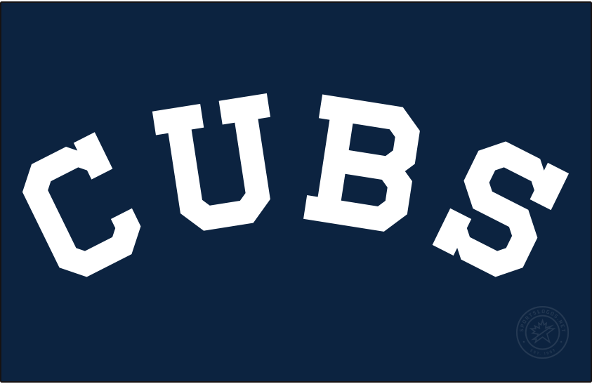 Chicago Cubs Logo Jersey Logo (1913) - Following five seasons of using a bear logo on their uniform, the Cubs switched back to traditional lettering on their jersey, now reading the team nickname of CUBS in white on a navy blue jersey this road uniform lasted only for the 1913 season before returning in 1918 with different colours. SportsLogos.Net