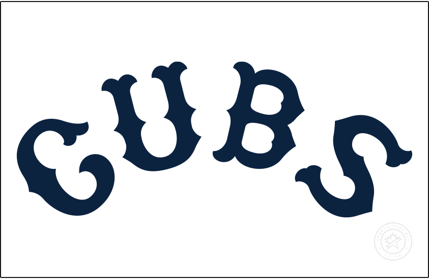 Chicago Cubs Logo Jersey Logo (1914) - For the 1914 season the Chicago Cubs wore this navy blue arched CUBS wordmark across the front of their white home uniforms. They wore a similar version of this logo again in 1915 instead in black. SportsLogos.Net