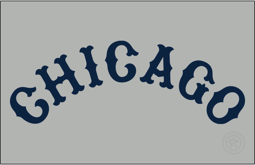 Chicago Cubs Logo Jersey Logo (1914) - For the 1914 season the Chicago Cubs wore this navy blue arched CHICAGO wordmark across the front of their road grey uniforms. SportsLogos.Net