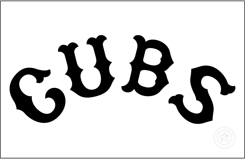 Chicago Cubs Logo Jersey Logo (1915) - For the 1915 season the Chicago Cubs wore this black arched CUBS wordmark across the front of their white home uniforms. SportsLogos.Net