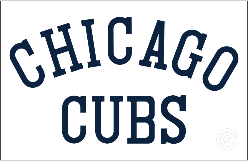 Chicago Cubs Logo Jersey Logo (1917) - For the 1917 season the Chicago Cubs wore their full name on the front of their home white and road grey jerseys, CHICAGO arched over CUBS in navy blue. SportsLogos.Net