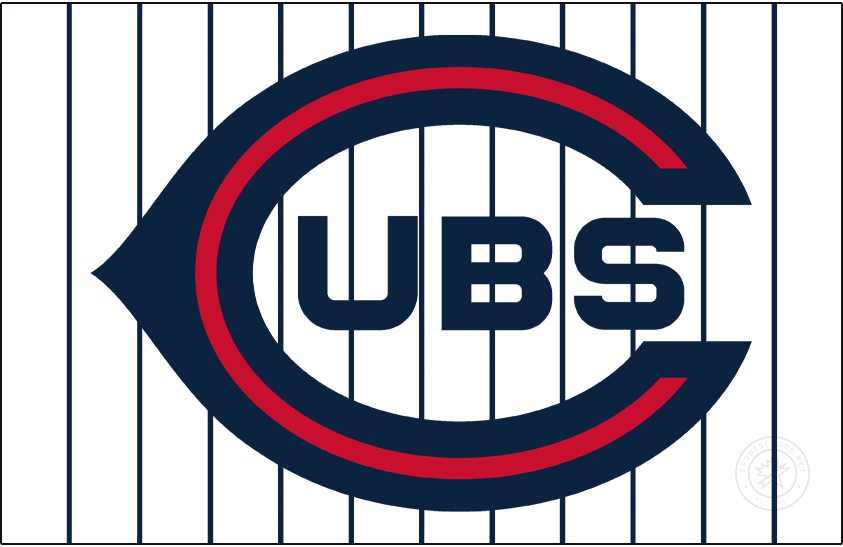 Chicago Cubs Logo Jersey Logo (1919-1920) - For the 1919 and 1920 seasons the Chicago Cubs wore this wishbone C logo with UBS inside in navy blue and white on the front of their home white, pinstriped uniforms. SportsLogos.Net