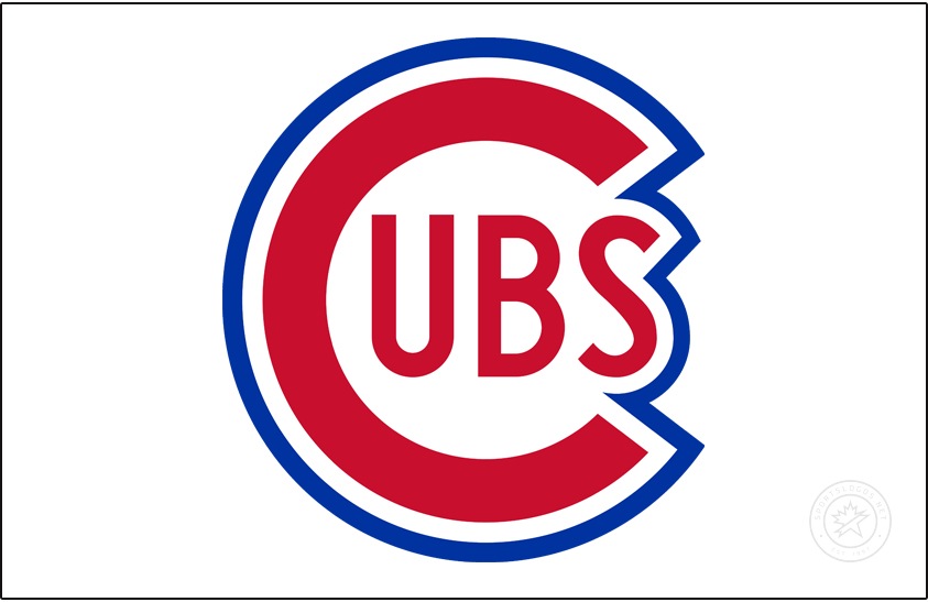 Chicago Cubs Logo Jersey Logo (1941-1947) - From 1941 to 1947 the Chicago Cubs wore their primary logo of the era on  the upper left corner of their home white jersey. In 1948 they switched to a slightly altered version of this logo. SportsLogos.Net