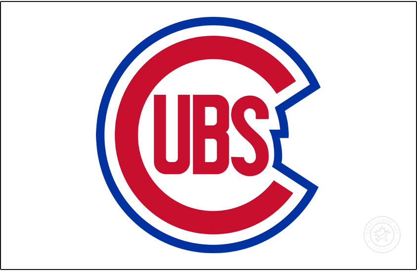 Chicago Cubs Logo Jersey Logo (1948-1956) - From 1948 to 1956 the Chicago Cubs wore their primary logo of the era, a red C with UBS inside trimmed in blue, on the upper left corner of their home white jersey. SportsLogos.Net