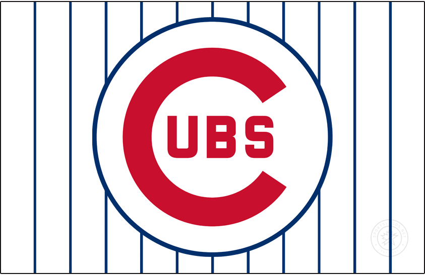 Chicago Cubs Logo Jersey Logo (1957-1969) - From 1957 to 1969 the Chicago Cubs wore this logo, a large red C with UBS inside all placed within a thin blue circle, on their pinstriped home white jerseys. In 1970 the circle was made thicker and even moreso once again in 1979. SportsLogos.Net