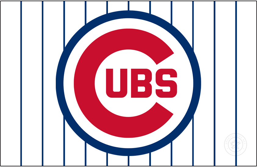 Chicago Cubs Logo Jersey Logo (1970-1978) - From 1970 to 1978 the Chicago Cubs wore this logo, a large red C with UBS inside all placed within a thin blue circle, on their pinstriped home white jerseys. Originally introduced in 1957, the circle was made thicker in 1970 and then again even moreso in 1979. SportsLogos.Net