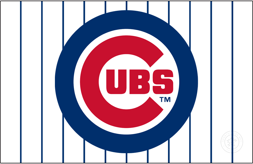 Chicago Cubs Logo Jersey Logo (1979-Pres) - Starting in 1979 the Chicago Cubs wore this logo, a large red C with UBS inside all placed within a thick blue circle, on their pinstriped home white jerseys. Originally introduced in 1957 with a very thin blue circle, the circle was made thicker in 1970 and then again even moreso in 1979. SportsLogos.Net