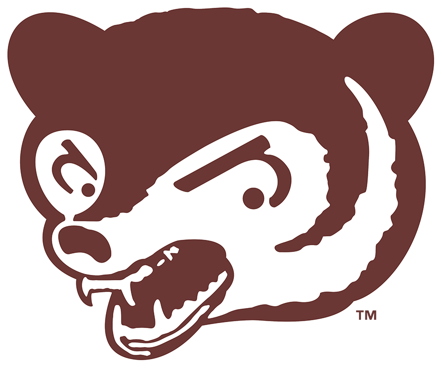 Chicago Cubs Logo Primary Logo (1941-1945) - In 1941 the Chicago Cubs adopted a logo featuring an aggrevated brown bear cub face in brown and white as their primary logo. Though the colours of this logo suggest otherwise, the team continued to wear their familiar blue and red uniforms during this time. SportsLogos.Net