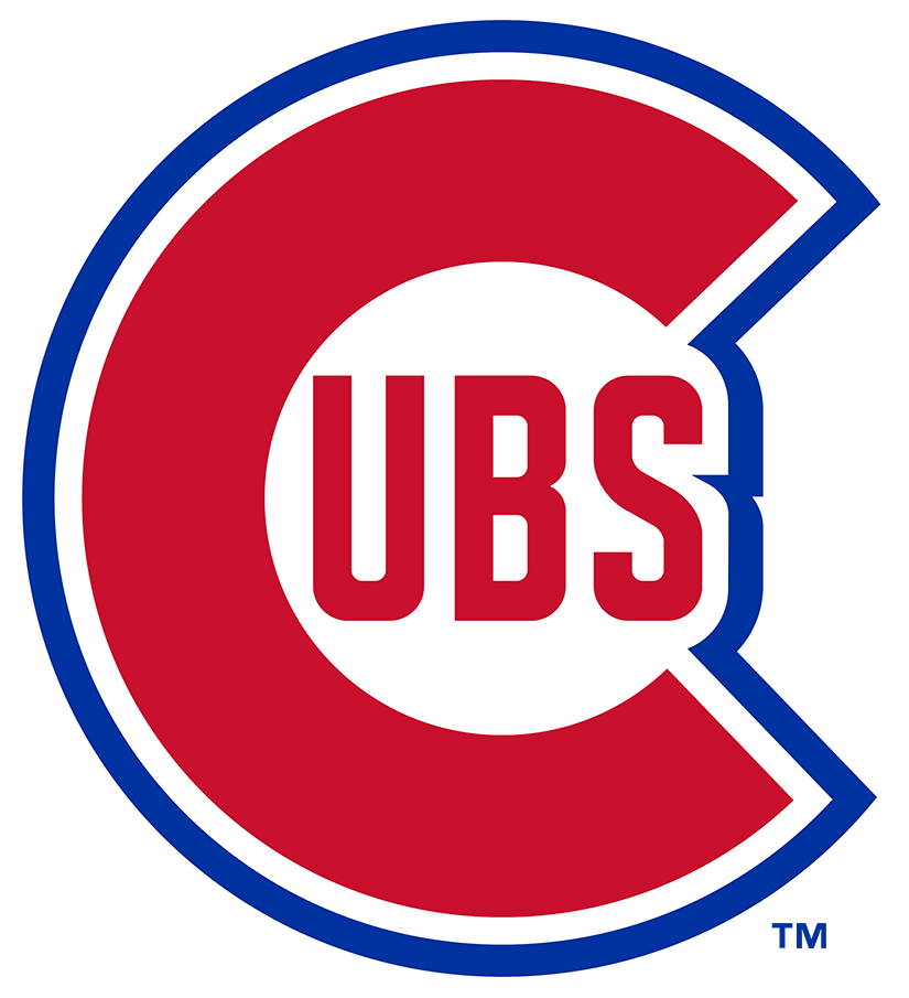Chicago Cubs Logo Primary Logo (1946-1947) - In what was mostly a throwback to their logo of the late 1930s, the Chicago Cubs adopted this logo showing a large red C with UBS inside and trimmed in white and royal blue, for the 1946 season. In 1948 the team made a slight change to this design. SportsLogos.Net
