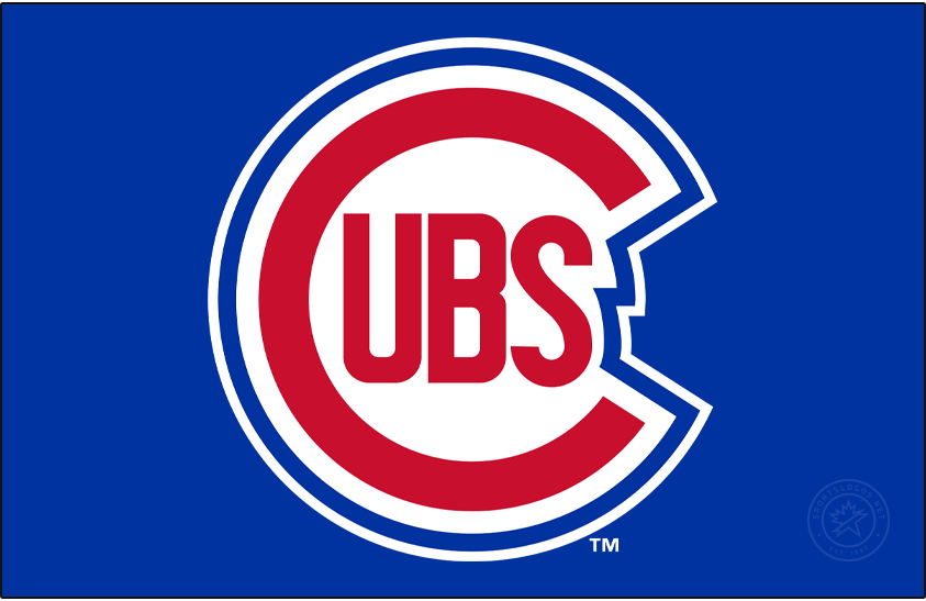 Chicago Cubs Logo Primary Dark Logo (1948-1956) - A slightly modified version of what they had used from 1946-47, the Cubs logo showed a large red C with UBS inside of it outlined in white and royal blue. In 1957 the outline was swapped for a circle. SportsLogos.Net