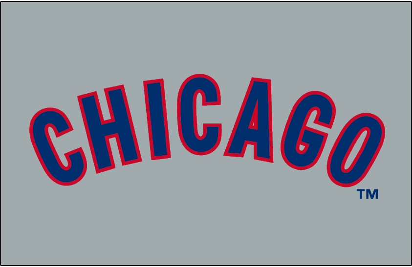 Chicago Cubs Logo Jersey Logo (1958-1968) - Chicago in blue with a red outline, arched on a grey jersey. Worn on Chicago Cubs road jerseys from 1958-1968. SportsLogos.Net
