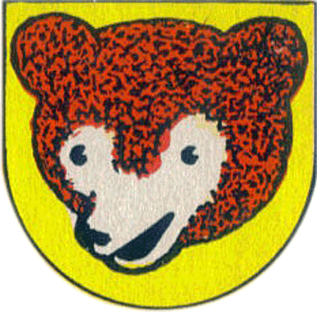 Chicago Cubs Logo Alternate Logo (1950-1956) - A brown and black bear cub head within a yellow shield. SportsLogos.Net